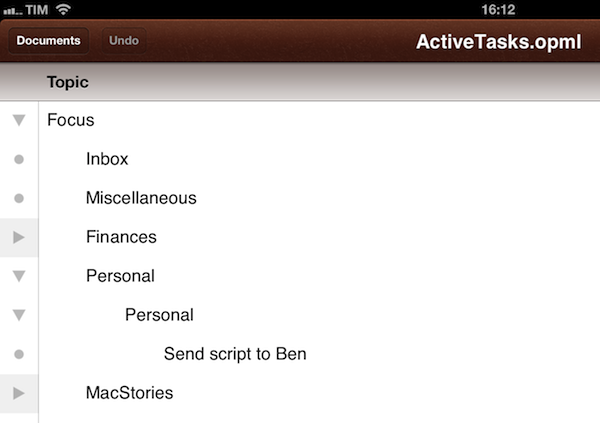 Visualize omnifocus as ithoughts map opml or plain text for Omnioutliner templates